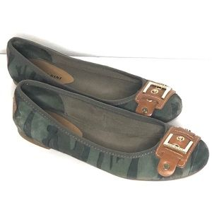 Gianni Bini Leather Camo Ballet Flats with Buckle